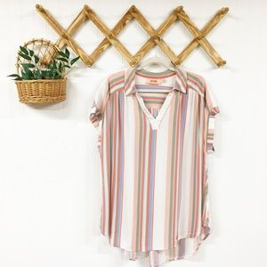 EVRI | Hi-lo Dolman Sleeve Striped Top